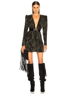 Saint Laurent Camouflage Plunging Mini Dress