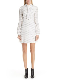 Saint Laurent Card Print Tie Neck Silk Dress