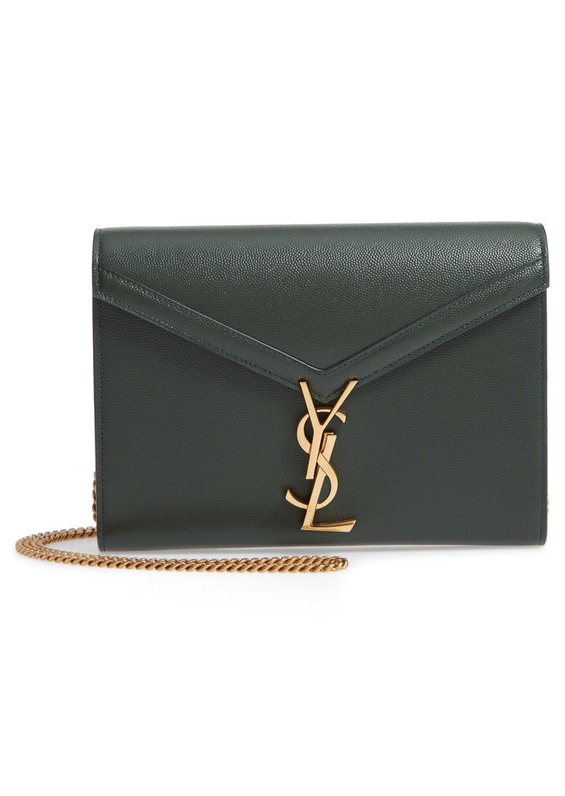 Saint Laurent Cassandra Leather Wallet on a Chain