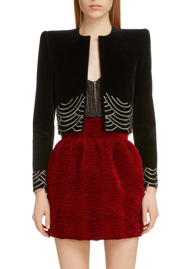 Saint Laurent Chain Detail Velvet Crop Jacket