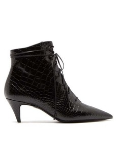 Saint Laurent Charlotte lace-up crocodile-embossed leather boots