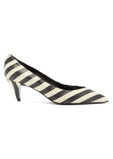 Saint Laurent Charlotte striped elaphe pumps