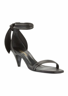 Saint Laurent Charlotte Studded Leather Ankle-Tie Sandals