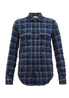Saint Laurent Checked cotton-blend shirt