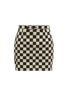 Saint Laurent Checkerboard-print denim mini skirt
