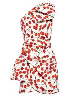 Saint Laurent Cherry Print One-Shoulder Minidress