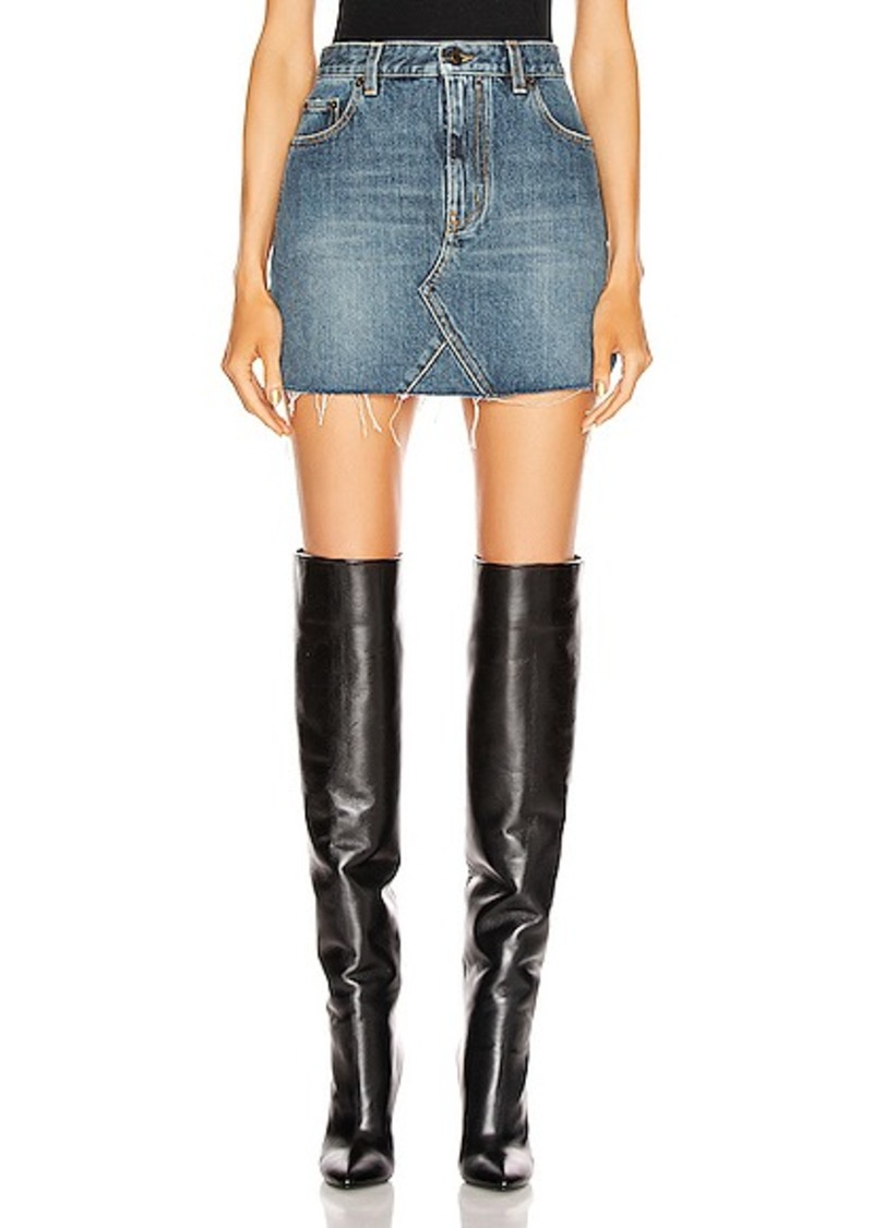 Saint Laurent Classic Triangle Denim Mini Skirt