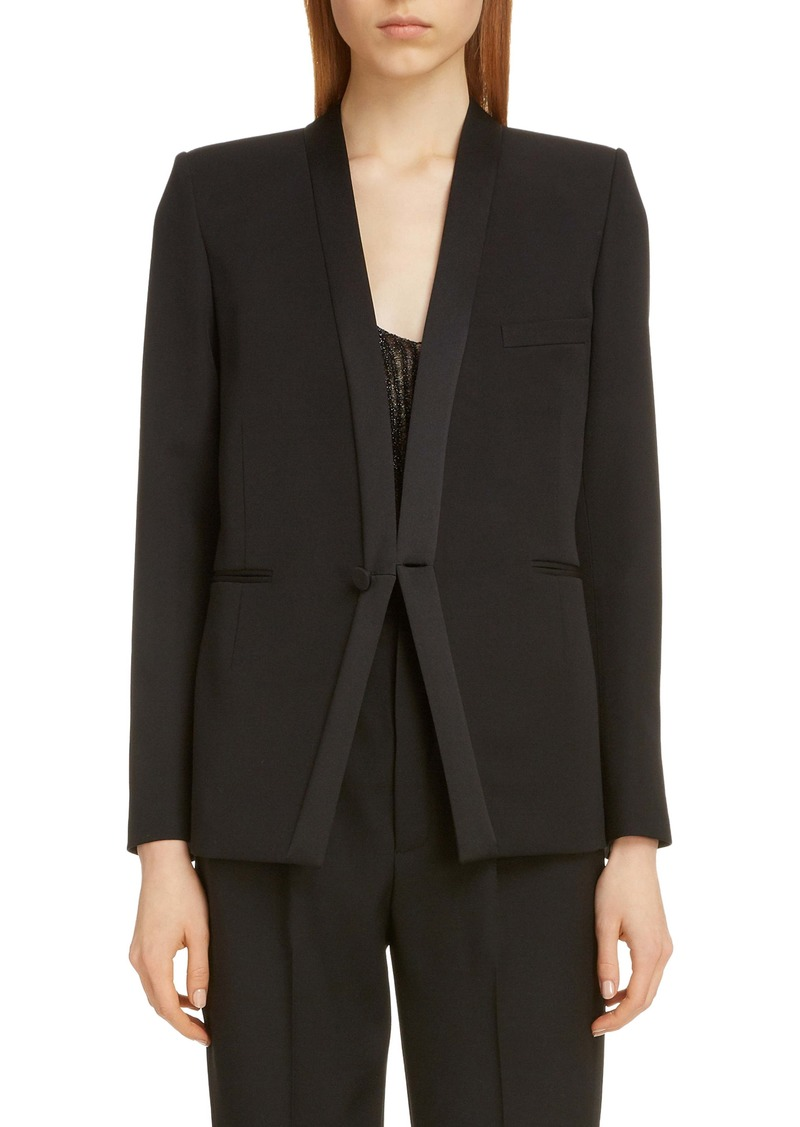 Saint Laurent Collarless Wool Tuxedo Jacket