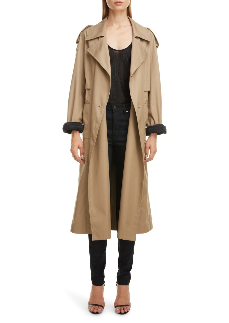 Saint Laurent Contrast Cuff Trench Coat