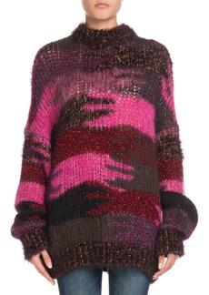 Saint Laurent Crewneck Camo Patchwork Mohair-Blend Sweater