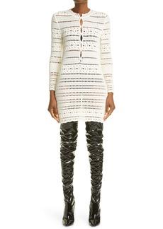 Saint Laurent Crochet Long Sleeve Minidress