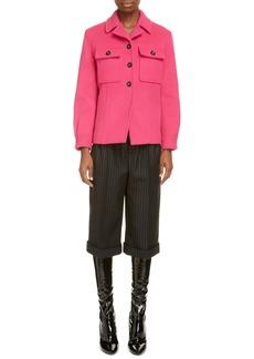 Saint Laurent Crop Pinstripe Wool Trousers