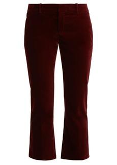 Saint Laurent Cropped kick-flare velvet trousers