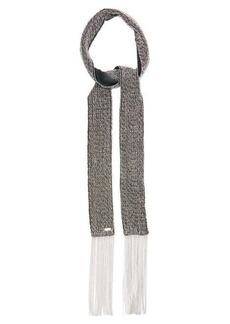 Saint Laurent Crystal-embellished fringed silk scarf