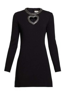 Saint Laurent Crystal-embellished wool-blend mini dress