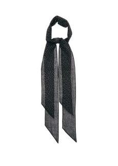 Saint Laurent Crystal-embellished opaque-wool scarf