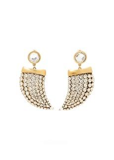 Saint Laurent Crystal-embellished shark tooth clip-on earrings