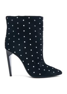 Saint Laurent Crystal Embellished Velvet Freja Boots