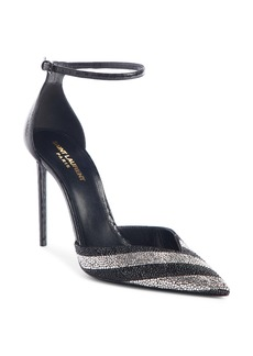 Saint Laurent Crystal Stripe & Genuine Snakeskin Pump (Women)