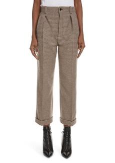 Saint Laurent Cuffed Wool Tweed Crop Pants