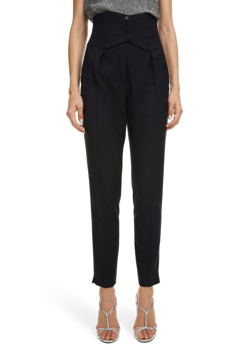 Saint Laurent Cummerbund Wool Gabardine Ankle Pants