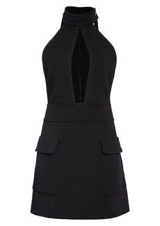Saint Laurent Cutout Halter Wool Jersey Minidress