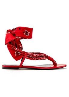 Saint Laurent Dallas bandana-print wrap sandals