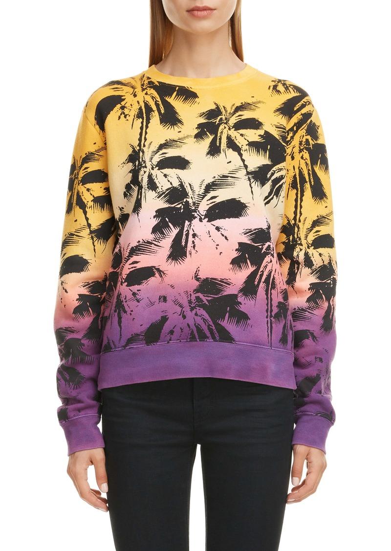 Saint Laurent Degradé Palm Print Sweatshirt