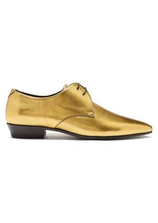 Saint Laurent Devil metallic-leather derby shoes