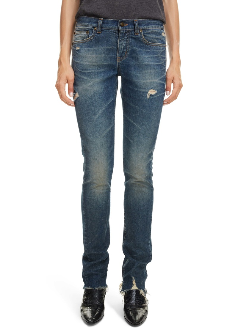 Saint Laurent Distressed Skinny Jeans (Blue Moon)
