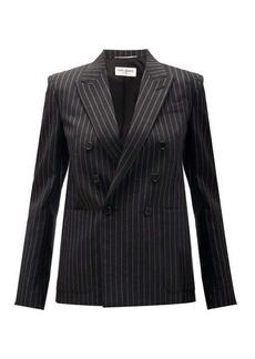Saint Laurent Double-breasted lamé-striped wool-blend jacket