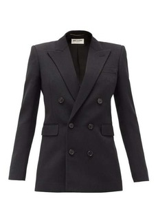 Saint Laurent Double-breasted wool-faille blazer