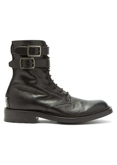 Saint Laurent Double-buckled leather combat boots