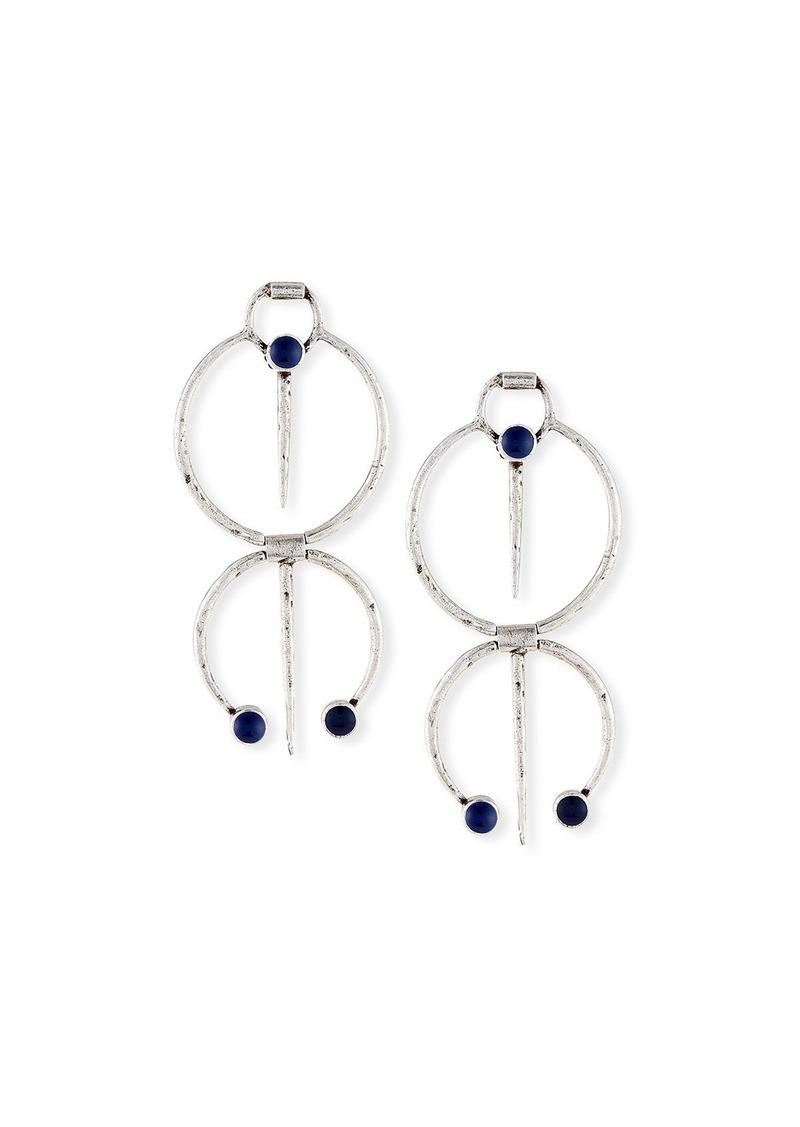 Saint Laurent Double Hoop Drop Clip Earrings w/ Blue Enamel