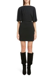 Saint Laurent Drape Sleeve Body-Con Minidress