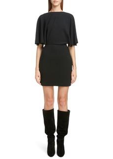 Saint Laurent Drape Sleeve Body-Con Minidress
