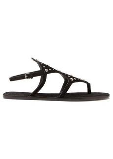 Saint Laurent Ella suede studded sandals