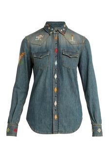 Saint Laurent Embroidered-denim Western-style shirt