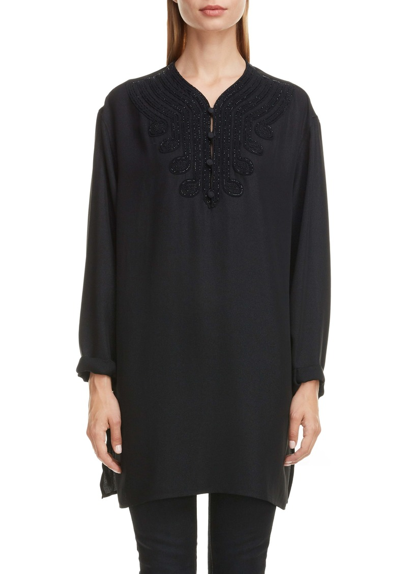 Saint Laurent Embroidered Voile Tunic