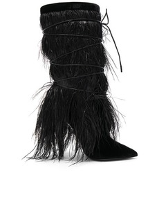 Saint Laurent Era Feather Embellished Velvet Yeti Boots