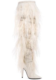 Saint Laurent Era Feather Embellished Velvet Yeti Thigh High Boots