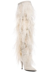 0af572f00 ... Saint Laurent Era Feather Embellished Velvet Yeti Thigh High Boots