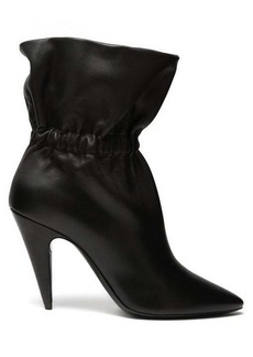Saint Laurent Etienne gathered leather ankle boots