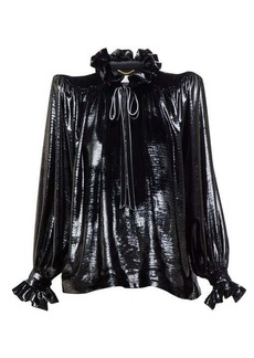 Saint Laurent Exaggerated-shoulder metallic-velvet blouse