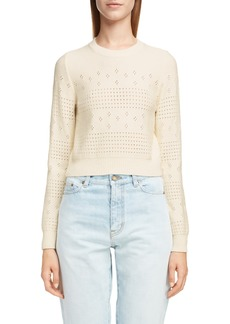 Saint Laurent Eyelet Detail Wool Blend Sweater