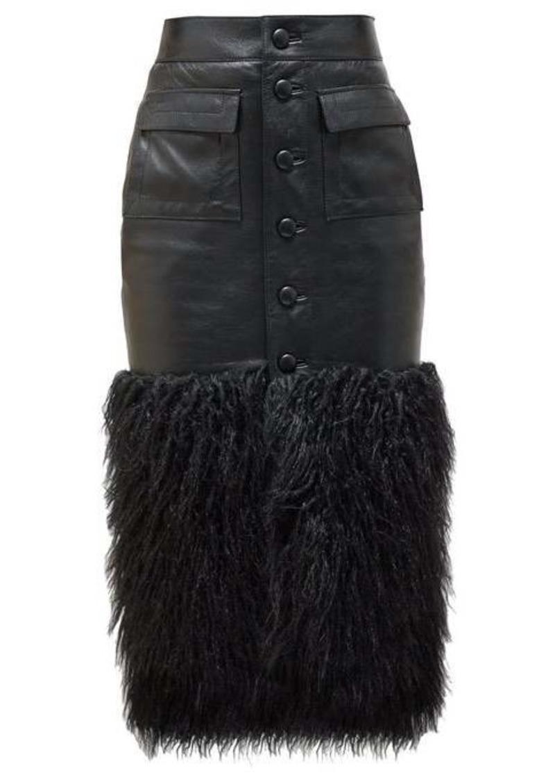 Saint Laurent Faux-fur trim leather skirt