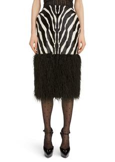 Saint Laurent Faux Shearling Hem Zebra Print Skirt