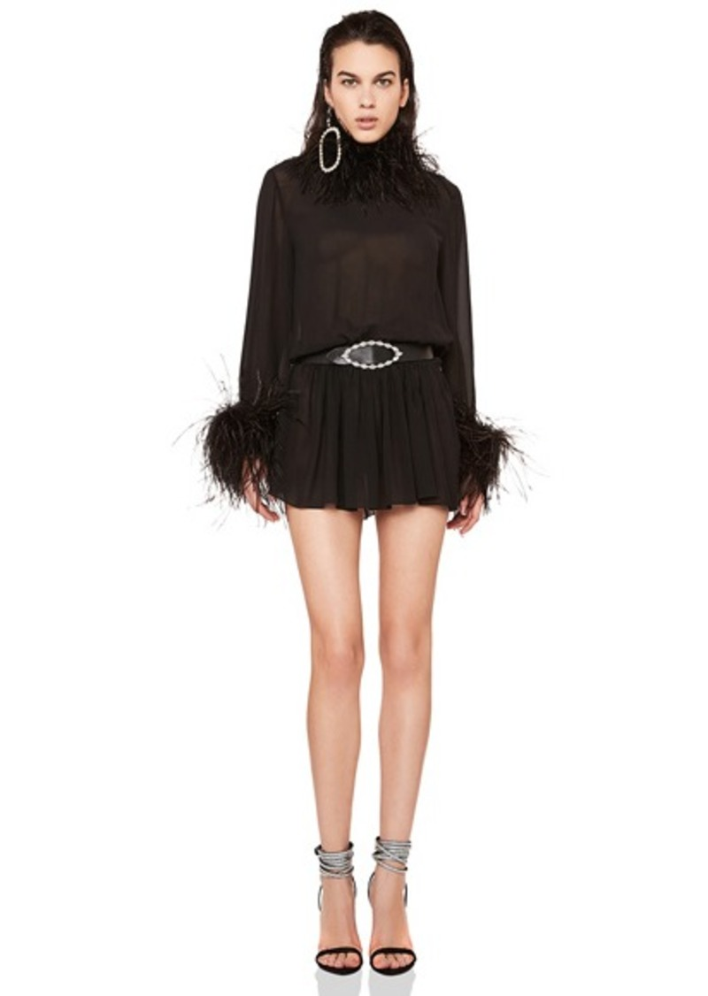 Saint Laurent Feather Trim Washed Silk Mini Dress
