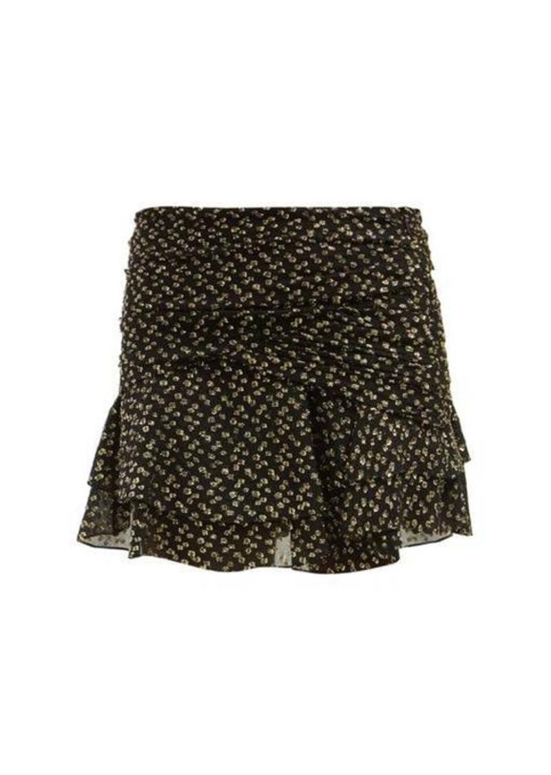 Saint Laurent Fil-coupé silk-blend tiered skirt
