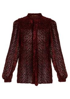 Saint Laurent Flocked crepe polka-dot blouse